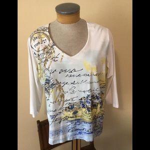Ruby Rd. Summer Shirt w Design & Sequins